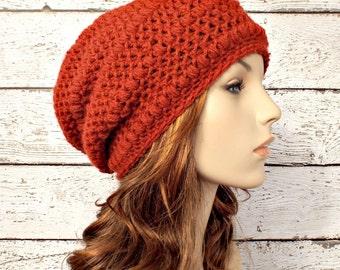 Crochet Hat Womens Hat Orange Hat - Penelope Puff Stitch Slouchy Beanie Hat Paprika Rust Orange Crochet Hat - Womens Accessories Winter Hat