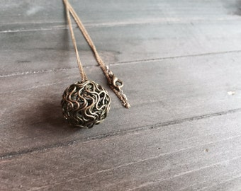 Bronze Wire Ball Necklace - SALE 40% Off