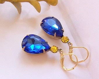 Vintage Blue Sapphire Pear Shaped Stone and Round Citrine Rhinestone, Dangle Earrings, Estate Style, Old Hollywood, Bridesmaids Gifts
