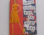 Cancer Brave Girl Vintage Card Collage Art Card Handmade Hand stamped Blank Inside