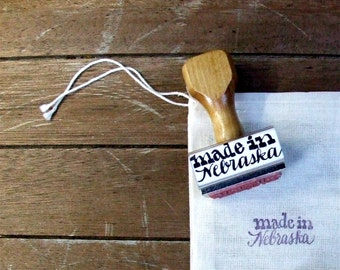 Made in Nebraska Rubber Stamp, Hand Lettered, Calligraphy Stamps, Heart of America, State Stamp, Packaging Label Stamp