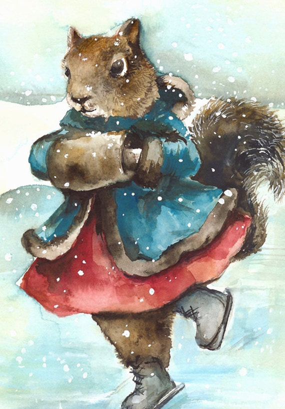 Christmas Cards, whimsical christmas cards, holiday cards, animal christmas cards squirrel cards- Skating- Squirrel Card Set