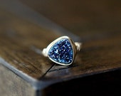 Druzy Ring , Stacking Triangle Cobalt Blue Gemstone in Gold , Rose Gold , Silver , Geometric Trends