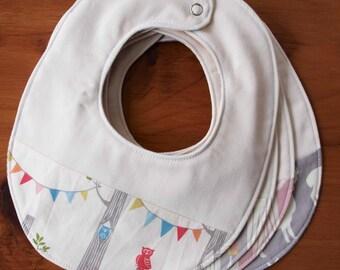 Woodland Party Baby Bib, Organic Bib for Baby Boy or Girl, Modern Newborn Baby Bib, Handmade Baby Shower Gift, Gender Neutral Fox Baby Bib