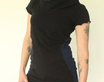 short sleeved hooded tunic dress Black/Navy color block sides