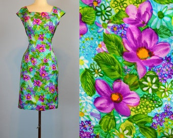 Vintage Silk Dress ~ 1960s Floral Garden Party Wiggle Dress S M