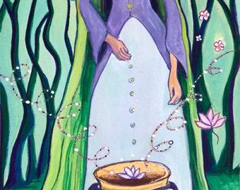 Small Print Goddess Art -Cerridwen - Celtic Goddess of Transformation, Inspiration and Knowledge
