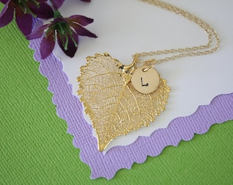 Real Cottonwood Leaf, Leaf Necklace Personalized, Gold Leaf, Gold Initial Charm, Gold Monogram Necklace