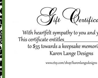 Bereavement Gift Certificate/ Memory Gift Certificate
