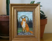 Fox Icon - Original Watercolor Painting 4 X 6 - Framed