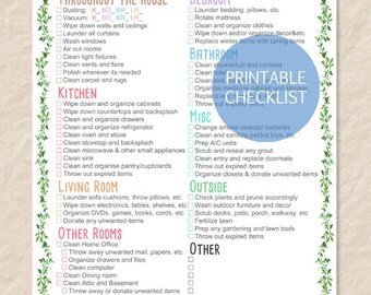 Printable Spring Cleaning Checklist, Printable House Cleaning Checklist, Filled and Blank list - Editable PDF - Instant Download