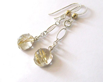 Gold Rutilated Quartz Dangling Earrings, Sterling Silver Hooks with Gold Filled Bead Detail