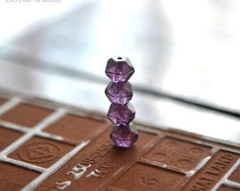 Last Listing - Grape Vine - Czech Glass, Amethyst, Metallic Gold Luster, English Cut Rounds 10mm - 6 Pc