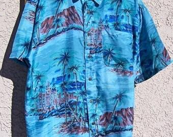 Vintage Hawaiian Silk Shirt Blue