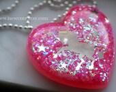 Unicorn Necklace, Resin Jewelry, Statement Necklace, Pink Glitter Heart, Handmade Unicorn Glitter Pendant, Resin Glitter Jewelry by isewcute