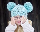 9 Sizes Pom Pom Hat Baby Hat Baby Girl Hat Baby Boy Hat Toddler Hat Toddler Girl Toddler Boy Womens Hat Sea Blue Brown Photo Prop Winter Hat