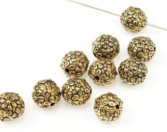 Antique Gold Beads TierraCast Floral Round Beads For Jewelry Making Beads 8mm Gold Beads Flower Design  (P148)