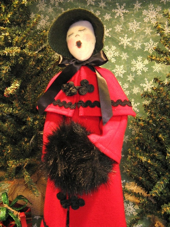 Cloth Doll E-Pattern Free Standing Victorian Lady Caroler