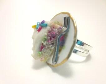 Confetti Vanilla Cake Ring, Miniature Food Jewelry, Polymer Clay Food Jewelry
