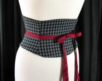 Black and Grey Plaid Check Corset Belt Waist Cincher Any Size