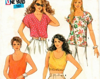 Simplicity Pattern 7292 - Misses Pullover, One-Yard Tops - Petite-Large