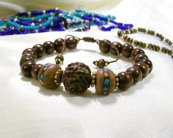 Rudraksha Bracelet Artisan Beads Mala Japa Yoga Tibetan Rudraksha Guru Bead Wood  OOAK Bracelet  Adjustable Or Elastic
