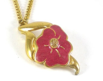Flower Necklace - Flower Pendant -  Pink Floral Necklace - Vintage Jewelry