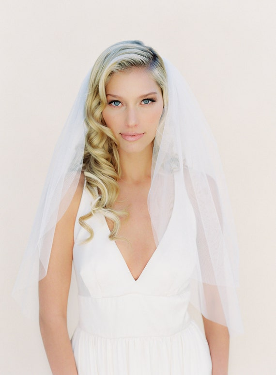 SALE Triple Layer Fingertip Veil, Ivory English Net Bridal Veil, 42 Inches with 37 Inch and 30 Inch Blusher, Soft Veil 0801 EN
