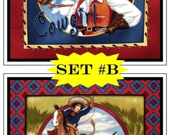 """TWO Panels) Robert Kaufman """"The Old West"""" Western Cowgirls Horses Rodeo Fabric Panels 12"""" x 12"""" Each #B"""