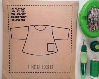 100 Acts of Sewing: Tunic No. 1 - Sewing Pattern  (sizes XS-L)