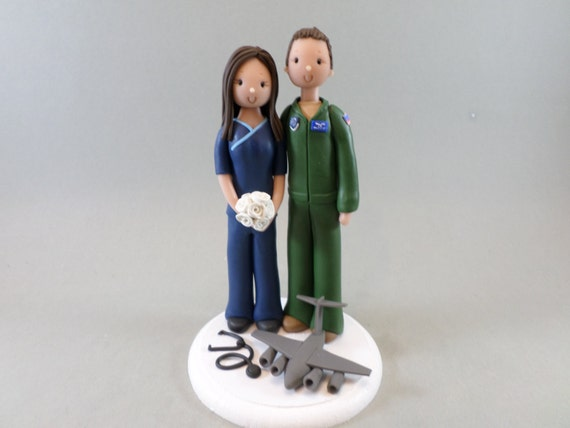 Wedding Cake Topper Pilot Customized Nurse By Mudcards
