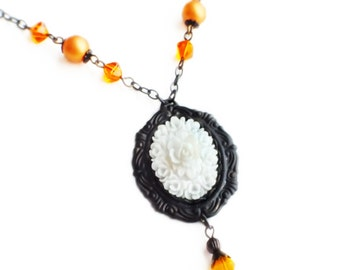 White Rose Cameo Necklace Vintage Flower Pendant Necklace Victorian Rose White Orange Floral Romantic Valentine's Day Gift For Her