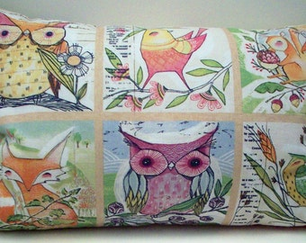 Woodland  Pillow - Fox Owls Quail and Squirrels filled with Buckwheat and Lavender - Pastel Forest Animals - Spring and Summer Decor