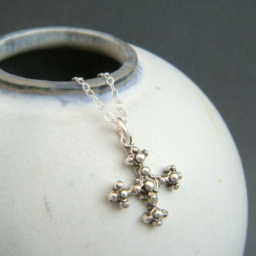 small silver cross necklace sterling silver square
