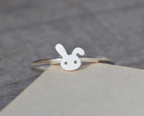 Small Bunny Rabbit Ring In Solid Sterling Silver, Handmade In England