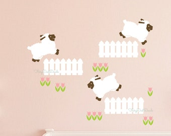 Lamb Sheep wall decal - baby nursery wall decals - sheep leaping over fence wall art - farm animal wall decals - little lamb decals - sheep