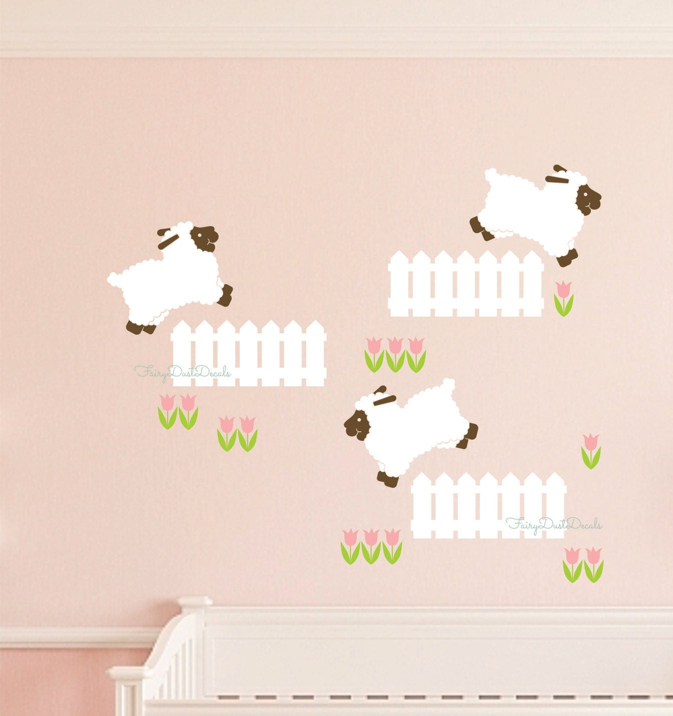 Sheep wall decal nursery decor flower decal little lamb