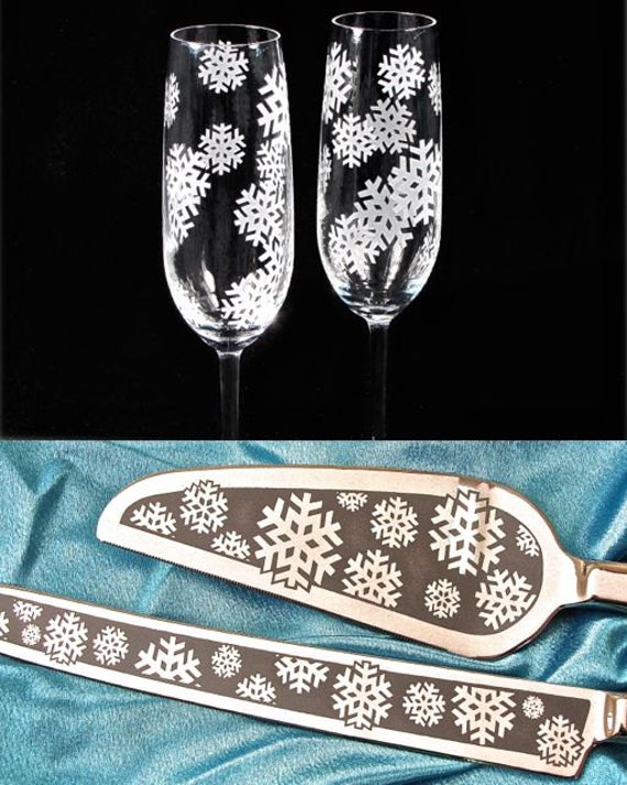 Snowflake Wedding Cake Server Champagne Flute Set Personalized Table
