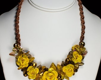 Yellow Rose Necklace, Handmade Glass Jewelry