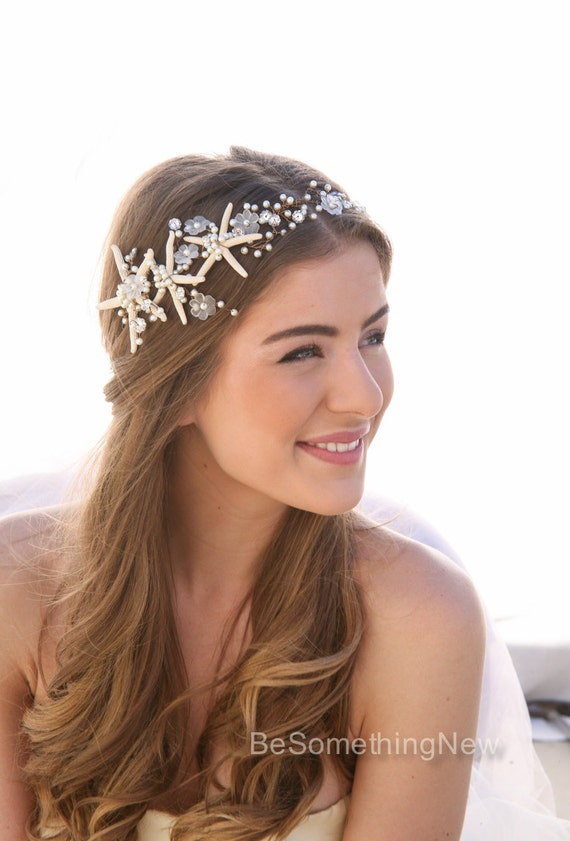 Beach Wedding Starfish and Pearl Wired Hair Vine, Nautical Wedding Headpiece, Destination Wedding Headband Beaded Tiara with Star fish