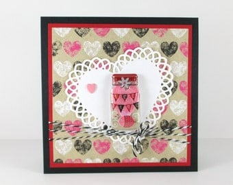 Mason jar valentines day cards, hearts, happy valentines day cards, valentines cards for her, girlfriend, wife, mom, daughter