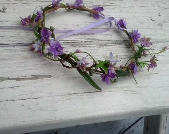 Bridal Shower hair accessories flower crown Lavender baby headband maternity photo prop Wedding hair wreath headpiece circlet accessories
