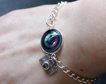 Camera Lens Bracelet - Glass Dome photographer tog photo personalised bracelet chain