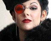 Red Monocle Silver Chain Goth Eyewear
