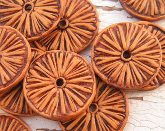 Golden Orange - Rustic Aster Wheel carved tribal boho chic wildflower disc beads - set of 2 beads (ready to ship)