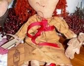 Primitive Handmade Raggedy Annie and Her Rabbit  HAFIAR