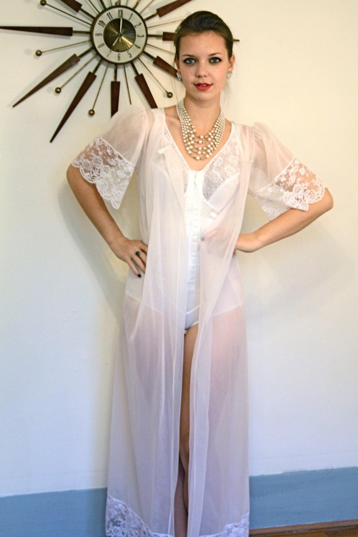Vintage 60s Henson Kickernick Robe Sheer Chiffon Lace