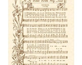 It Is WELL With My SOUL A.K.A. When Peace Like A River 8x10 Antique Hymn Art Print Parchment Sepia Brown Vintage Verses Sheet Music Wall Art