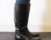 Vintage black leather riding style boots size 10 made in Brazil