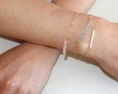 Narrow Hammered Bar bracelet - small gold skinny bar bracelet